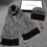 New Hot adult Designer Hats Scarves 2 piece Suit quality Winter men's women's Luxury warm European high-end Knitted Beanies and scarf Sets