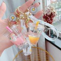 Glitter Quicksand Anahtarlık Sıvı Yüzer Unicorn Anahtarlık Anahtarlık Çantası Charm Süt Çay Kupası Kolye Keyfob Hediye Kadınlar Için