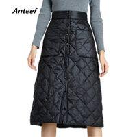 Anteef Plus Size Black 2020 High Cintura Roupas Outono Inverno Saia Casual Solta Midi Saias Das Mulheres Saia Jupe Feminino Streetwear T200712