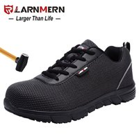 LARNMERN Men Steel Toe Safety Shoes For Men Lightweight Breathable Work Shoes Men's Security Footwear Protective Sneaker 201222