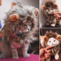 Costume engraçado e bonito do gato Pet Lion Mane peruca Hat Cat And Dog Halloween Disguise Com Orelhas Roupas Pet Christmas Dress Up