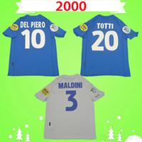 إيطاليا 2000 الرجعية لكرة القدم الفانيلة الكلاسيكية لكرة القدم قميص خمر الزي خمر f.inzaghi del piero totti vieri maldini nesta maglietta دا كالكيو