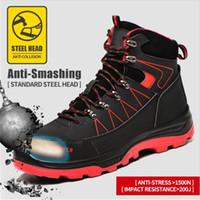 Frauen und Männer Stahl-Zehen-Arbeitssicherheit Sportschuhe Beiläufige atmungsaktive Outdoor Sneakers Pannen-Proof-Stiefel Bequeme Schuhe 201222