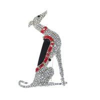 10pcs / 63mm Broche galgo perro Pin Rhinestone claro del tono de la plata de la joyería del esmalte rojo de broches y animal de la manera Negro