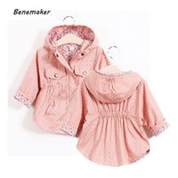 Benemaker-Jacken für Mädchen-Kinder-Windjacke-Babykind-Kleidung Frühling mit Kapuze-Mäntel Casual-Oberbekleidung 2-8Y Trench YJ021 201126
