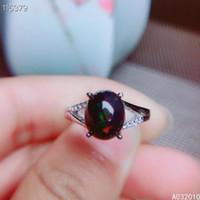 KJJEAXCMY jóias finas 925 prata incrustada naturais preto opala novo anel Feminino Detecção apoio popular