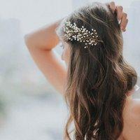 Невеста свадьба ручной работы жемчужный гребень образца образца листьев свадебные аксессуары для волос женщины головной уборной оптом1