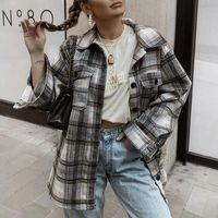 Mosimoly coole karierende Hemdmäntel Frauen 2020 Trendy Winter Müßiggänger Oberbekleidung Streetwear Übergröße Hemd Tops