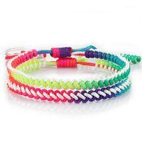 Tennis Handmade Weave Braccialetto Fashion Rainbow Rope Knot regolabile Fortunato Braccialetti di fascino fortunati per le donne Uomo Girl Jewelry Friendship Bangles1