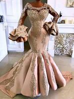 2020 Arabe Aso Ebi d'or de luxe sirène robes de soirée en dentelle perlée robes de bal à manches longues fête officielle deuxième Robes de réception