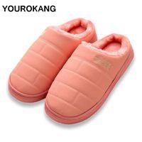 YOUROKANG Çift Ev Terlik PU Deri Kış Peluş Terlik Moda Kürklü Pamuk Shoes Kapalı Yatak Antiskid pantufa Isınma