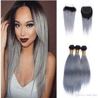 Deux Ton 1b gris gris vierge vierge tissée de lacets de dentelle avec des bundles droites extensions de cheveux humains ombre argent gris cheveux avec fermeture