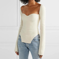 2021 Nuova primavera ed estate moda donna vestiti cashmere sqaure colletto a maniche lunghe elastico vita alta sexy pullover 011902