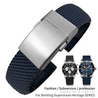 22 мм 24 мм плетеный силиконовые резиновые резиновые часы Band Fit для Breitling Averer SuperoCean Heritage Black Blue Watch Breaceles Бесплатные инструменты