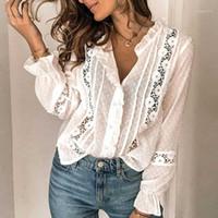 Zessam 2020 Blusa Branca Manga Longa Top Bordado Floral Howlow Out Cute Blusa Mulheres Algodão Boho Beach Mulheres Camisa1