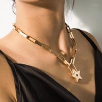 einzigartige frauen schmuck gold gefüllt micro pave cz sicherheit pin link kette choker halskette stern anhänger für sexy schicht kurze neckalce1