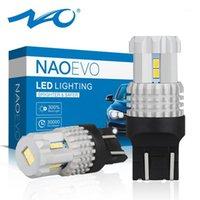 NAO T20 7443 Светодиодная лампа W21 / 5W Лампочки для автоматического W21 5W DRL тормозные Обратные огни 12 В белый красный янтарь 3020 фишки Super Bright1