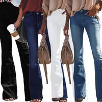 Bayan Kot Orta Bel Denim Kot Ince Tam Boy Flare Kot Bayanlar Rahat Düzenli Pantolon Rahat Stil