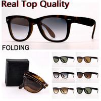mens gafas de sol plegables gafas de sol gafas de diseñador de gafas de sol de sol con lentes de cristal UV400, plegable de la caja de cuero, venta al por menor y paquetes!