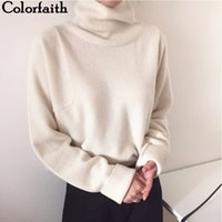 Colorfaith New Women's Autumn Winter Korean Style Knitwear Turtleneck Warm Pullover Solid Minimalist Elegant Sweater SW7276 201023