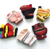 5-15 años Nuevo espesado cálido bebé bebé niños niñas invierno guantes cálidos recién nacidos remiendo coloreado mitones niños tejido medio dedos flip guantes