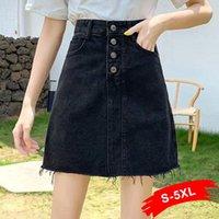 Artı Boyutu Püskül Hem Patchwork Mini Siyah Denim Etek 5XL Kore Yüksek Moda Rahat Düğme Skinny Jeans Etekler Kadın Y2K