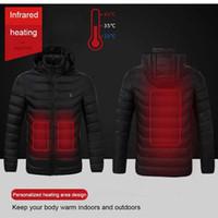 겨울 따뜻한 하이킹 재킷 남성 여성 스마트 서모 스탯 후드 워드 USB 가열 의류 방수 윈드 브레이커 남자 블랙 양털 재킷