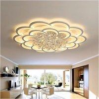 흰색 현대 LED 천장 조명 조명 고정물 살고있는 식당에서 원격 홈 침실 plafon 램프 크리스탈 조명 광택