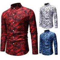 Мужчины Современные Длинные рукава рубашки Одежда Мода Printed Рубашка Топы SER88