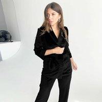 Женские сонные одежды Hiloc Black вязаные бархатные пижамы теплые карманы твердые халаты набор женщин три четверть рукава халат халат зима пижама