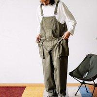Streetwear hommes mode Harajuku jarretelle Jumpsuit loose Pantalon droit hommes poche Salopette hommes Pantalons Casual Tenues 201027
