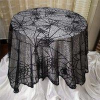 Хэллоуин столовая ткань SPIDERWEB Вышивка черный кружева скатерть нерегулярное стол для стола Хэллоуин украшения вечеринки Toalha de Mesa1