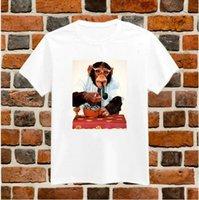 Lustiger Affe Rauchen T-shirts Druck für Frauen Baumwolle Beiläufige Hemd Weiß Top Tees Große Größe S XXXL Drop Ship TZ200 661
