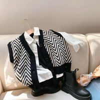 Baby Boys Sweater Vest Fashion Casual V Neck Wave Pattern Kn...