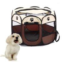 케네즈 펜 휴대용 야외 울타리 애완 동물 텐트 하우스 작은 큰 개 접이식 Playpen 실내 강아지 케이지 개 상자 배달 룸 1