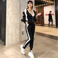 İki Parçalı Elbise Eşofman Kadınlar Kadın Set 2 Parça Pantolon 2021 Moda Parça Ter Takımı Joggers Suit Bayan Setleri FF1471 X1