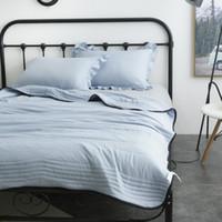 Утешители устанавливают демиссир сплошной цветовой полосы строчки промытый хлопчатобумажный мягкий воздух Состояние одеяло Летние тонкие одеяло кровать одеяло однократное