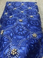 Beaded lace fabrics 2019 high quality lace african prints fabric latest jacquard fabrics with bead and stones 6yards lot PLW
