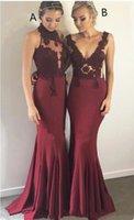 Sirena Stretch Satin Borgogna Abiti da damigella d'onore Diversi stili dello stesso colore Pizzo Top Immagini Sud Africa Plus Size Vestido de Novia