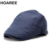 HOAREE Mens Navy Boinas Retro Homens Boné Cotton Sólidos Cap Irish Casual Primavera-Verão marca de alta qualidade Masculino motorista Ivy Hat