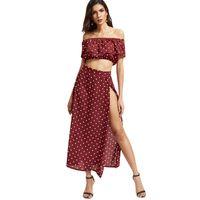 Vintage vermelho bolinhas mulheres conjuntos maxi vestidos + colheita tops sexy fora ombro senhoras chiffon plaffle recortado praia saias split