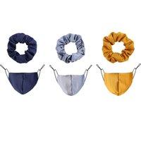 Cor pura corda de cabelo máscara 2 pçs / conjunto elástico cabelo faixa de cabelo mulheres inverno poeira quente respirador pêlos anel toca capa acessórios de cabelo 20 p2