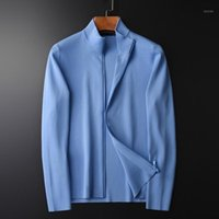 MINGLU Stand Collier Sweaters Luxe Solide Couleur Solid Cardigan Pull Mâle Spring et Automne Slim Fit Hommes Pulls 4XL1