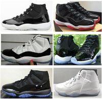 Мужской 11s Real Carbon Fiber 25th Anniversary 11 шапочки и мантия Prom Night Blackout Баскетбол обуви Легенда Синий Top Quality тапок