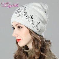 Bere / Kafatası Kapaklar LiliyabaHe Kadınlar Sonbahar Ve Kış Şapka Angora Örme Skullies Beanies Cap Kızlar için Diamante Blossom Dekorasyon Şapkalar1