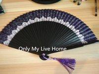Vintage mão fã impresso laço de seda fã tradicional artesanato fãs personalizados para o presente de casamento dobramento de bambu chinês