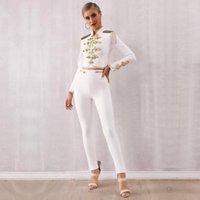 Två styck klänning auttumn vinter bitar lady bandage tofs kostym topants vit fransed tröja långa byxor kändis kväll löpande fest set1