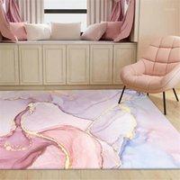 Pintura de aceite de oro rosa Alfombra abstracta de la alfombra Romántico Púrpura 3D Alfombra Cojín de dormitorio al lado de Balcony1