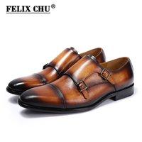 Felix Chu Handmade Genuine Couro Mens Confortável Sapatos Formal Preto Marrom Azul Partido Negócios Casamento Monge Strap Dress Sapatos LJ201015