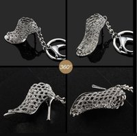 Gifts creativos estilo de dama zapatos de tacón alto metal llavero ahueca hacia fuera tacones altos llaves de llaves 2198